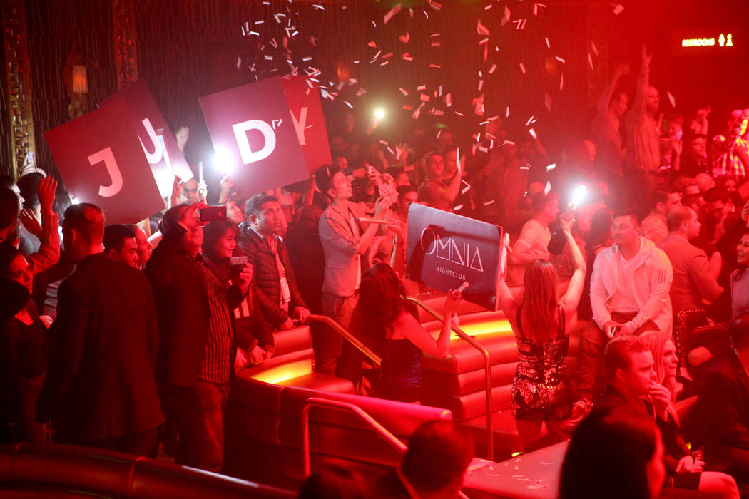 Conventioneers and club-goers in the main room at Omnia Nightclub at Caesars Palace in Las Vegas at the CES Opening Party early morning Wednesday, Jan. 9, 2019. K.M. Cannon Las Vegas Review-Journa ...