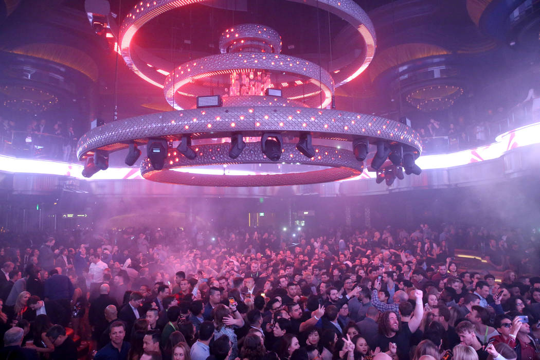 Conventioneers and club-goers dance in the main room at Omnia Nightclub at Caesars Palace in Las Vegas at the CES Opening Party early morning Wednesday, Jan. 9, 2019. K.M. Cannon Las Vegas Review- ...