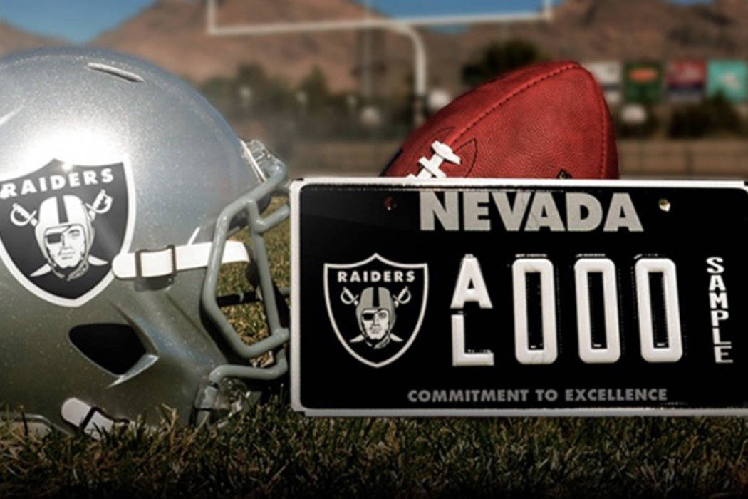 The Raiders Nevada specialty license plate will debut on roads in January 2019. (Courtesy of Raiders.com)