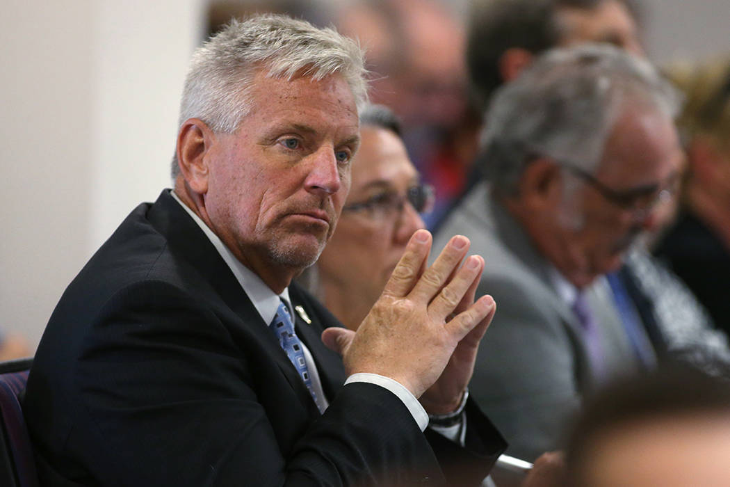 Nevada State Engineer Jason King listens to public comment during a subcommittee hearing at the Legislative Building in Carson City, Nev., on Friday, Aug. 26, 2016. (Cathleen Allison/Las Vegas Rev ...