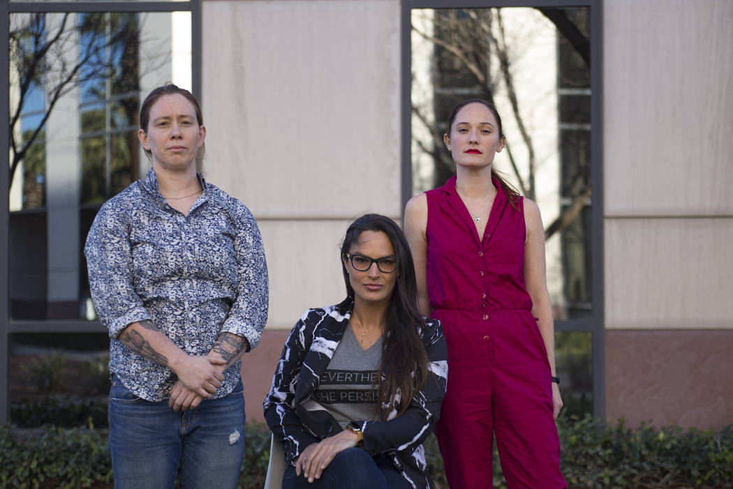 The employees of the start-up Lora DiCarlo, from left: Lola Vars, technical director, Lora Haddock, founder and CEO, and Sarah Brown, director of marketing, outside the Hughes Center offices in La ...