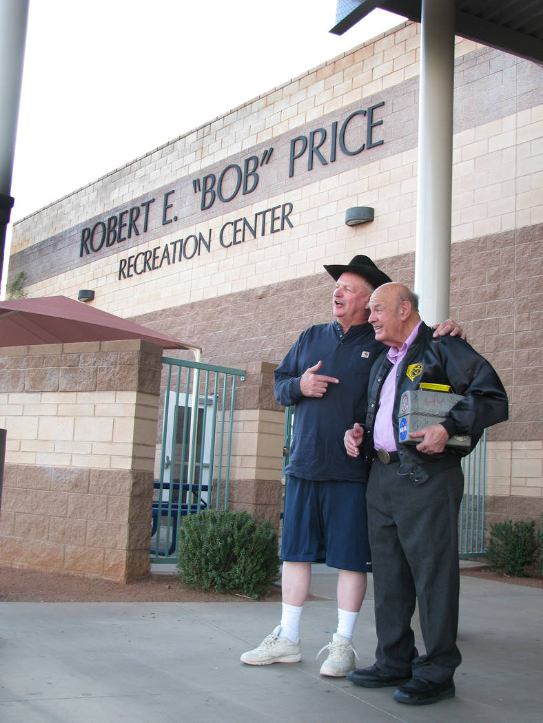 "Clark County Councilman Tom Collins with former Nevada assemblyman Robert E. ""Bob"" Price prepare to celebrate the fifth anniversary of Price's namesake recreation center at 2050 Bonnie Lane on Mar ..."