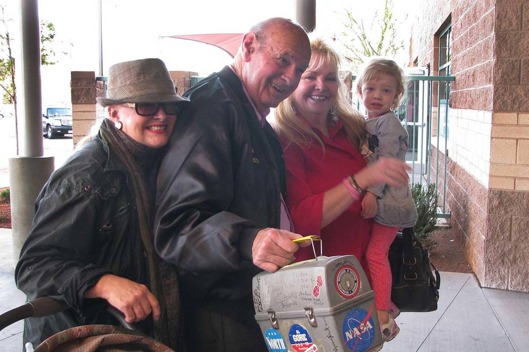 "Former Nevada assemblyman Robert E. ""Bob Price arrives with family to celebrate the fifth anniversary of Price's namesake recreation center at 2050 Bonnie Lane on March 3, 2014. From the left are ..."