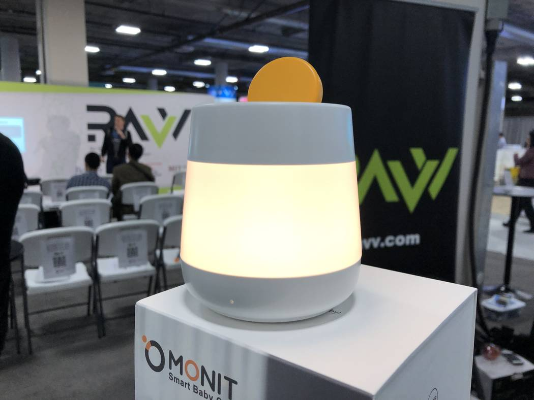 The Monit diaper sensor charges at its hub at CES 2019 on Wednesday, January 9, 2018. (Bailey Schulz/Las Vegas Review-Journal)