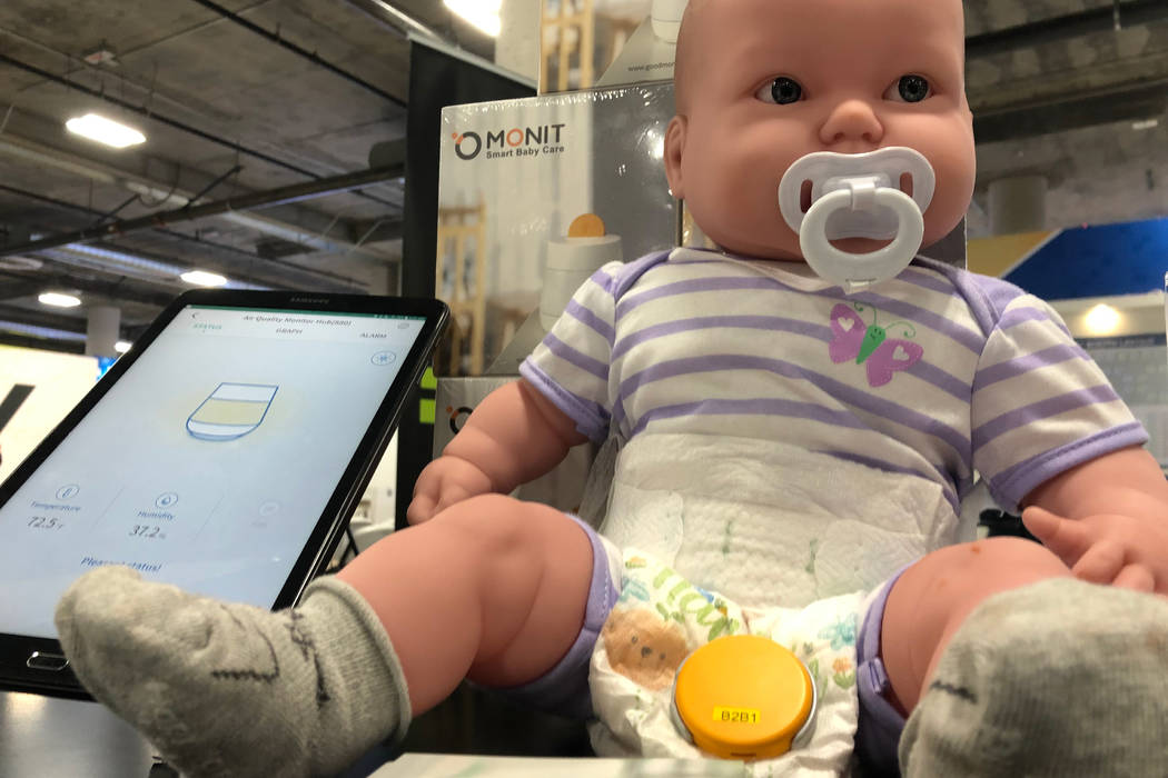 A doll modeling Monit's diaper sensor on display at CES 2019 on Wednesday, January 9, 2018. (Bailey Schulz/Las Vegas Review-Journal)