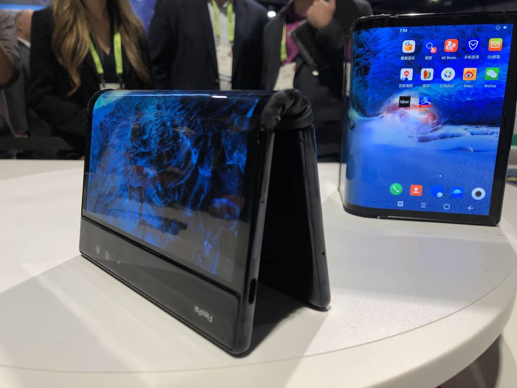 Royole's FlexPai, the first commercial folding phone, on display at CES 2019 at the Las Vegas Convention Center. (Bailey Schulz/Las Vegas Review-Journal)