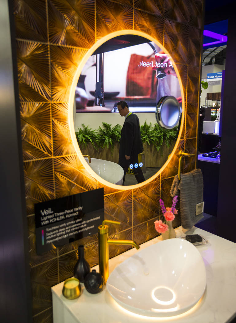 A smart mirror by Kohler at the Sands Expo and Convention Center during CES in Las Vegas on Wednesday, Jan. 9, 2019. Chase Stevens Las Vegas Review-Journal @csstevensphoto