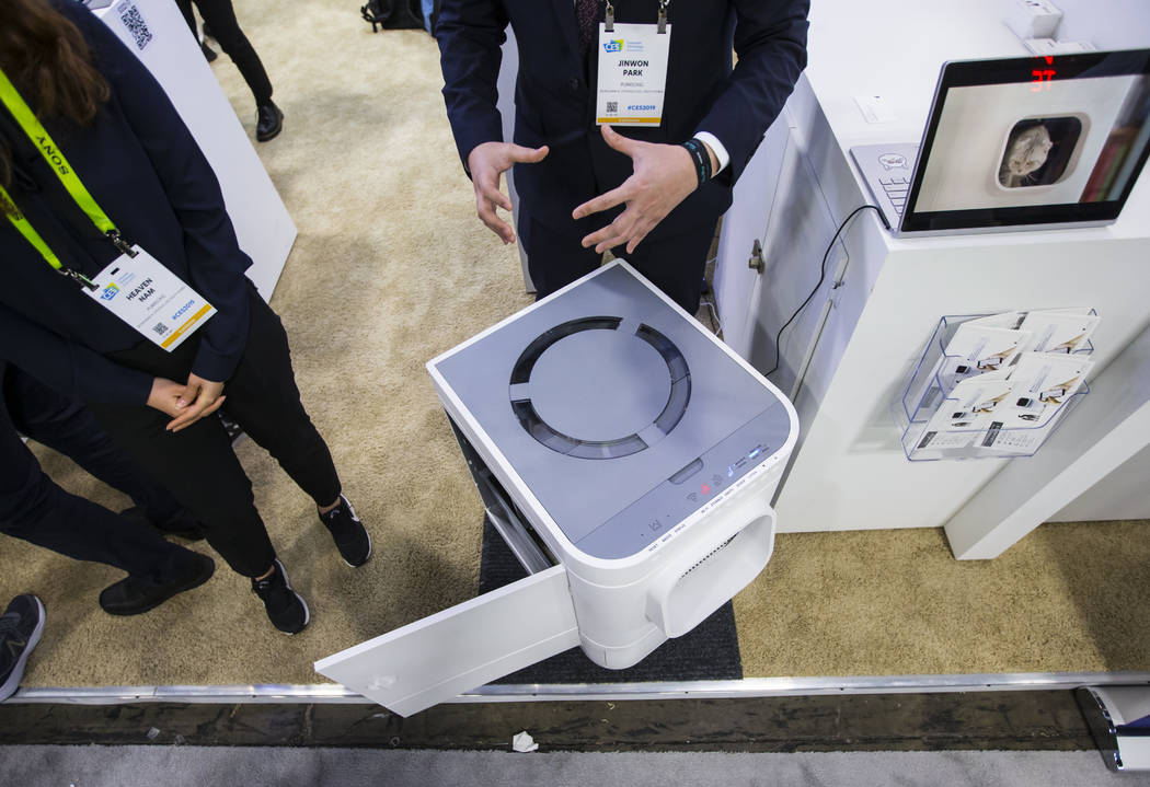 The LavvieBot automated litter box by PurrSong at the Sands Expo and Convention Center during CES in Las Vegas on Wednesday, Jan. 9, 2019. Chase Stevens Las Vegas Review-Journal @csstevensphoto