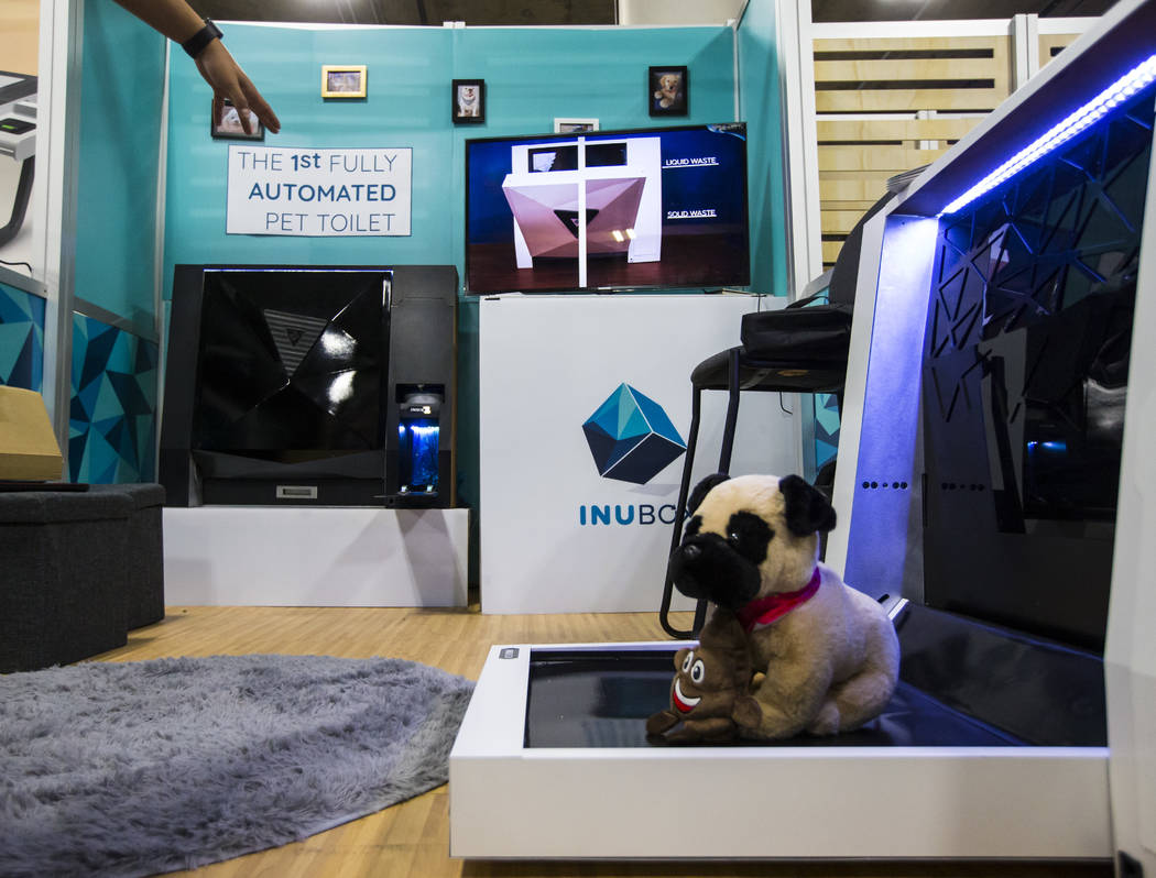 A view of the Inu Box fully automated dog toilet at the Sands Expo and Convention Center during CES in Las Vegas on Wednesday, Jan. 9, 2019. Chase Stevens Las Vegas Review-Journal @csstevensphoto
