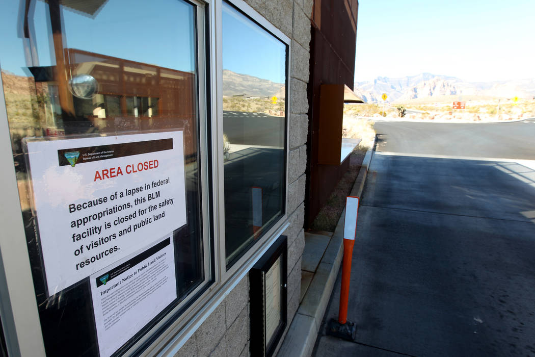 A fee booth at Red Rock Canyon National Conservation Area scenic loop is closed Monday, Jan. 22, 2018. While the gates were open, the fee booths, visitor center and bathrooms were closed due to a ...