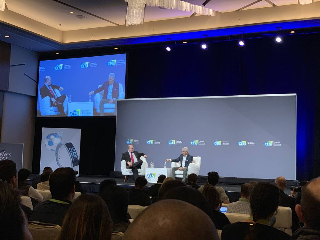 Brian Stelter, CNN's senior media correspondent, (left) and Turner President David Levy discuss sports betting at CES on Wednesday, Jan. 9, 2019 in Las Vegas at the Aria. (Todd Prince/Las Vegas Re ...