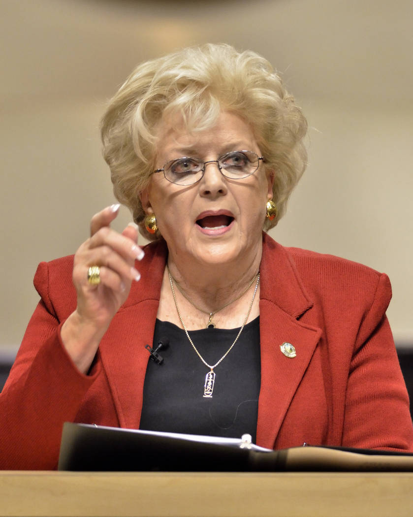 Las Vegas Mayor Carolyn Goodman delivers her State of the City address at Las Vegas City Hall at 495 S. Main St. in Las Vegas on Thursday, Jan. 10, 2019. Bill Hughes/Special to the Las Vegas Revie ...