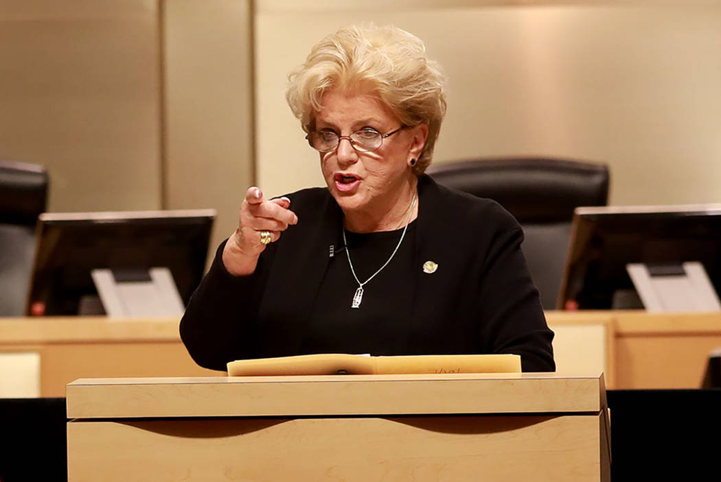 Mayor Carolyn Goodman welcomes the crowd during last year's State of the City address at the Las Vegas City Council chambers in Las Vegas, Jan. 11, 2018. Andrea Cornejo/ Las Vegas Review-Journal