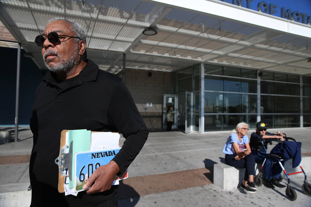 Cylee Dinkins III is interviewed about his visit to the Nevada Department of Motor Vehicles on East Sahara Avenue in Las Vegas, on Thursday, Jan. 10, 2019. Erik Verduzco Las Vegas Review-Journal @ ...