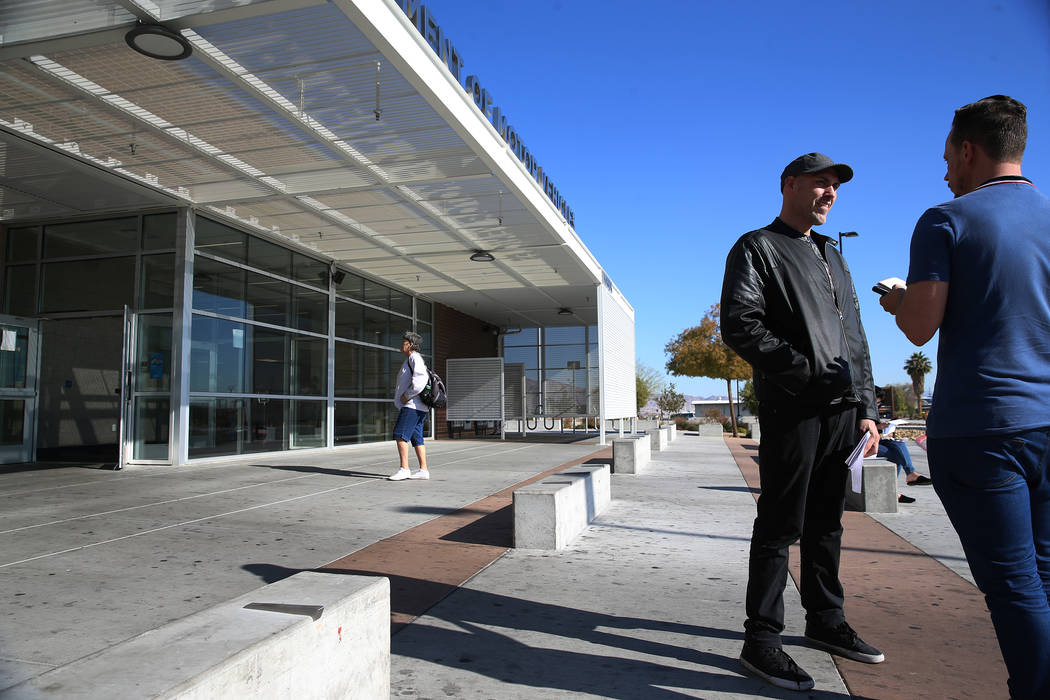 Benjamin Prowse is interviewed about his visit to the Nevada Department of Motor Vehicles on East Sahara Avenue in Las Vegas, on Thursday, Jan. 10, 2019. Erik Verduzco Las Vegas Review-Journal @Er ...