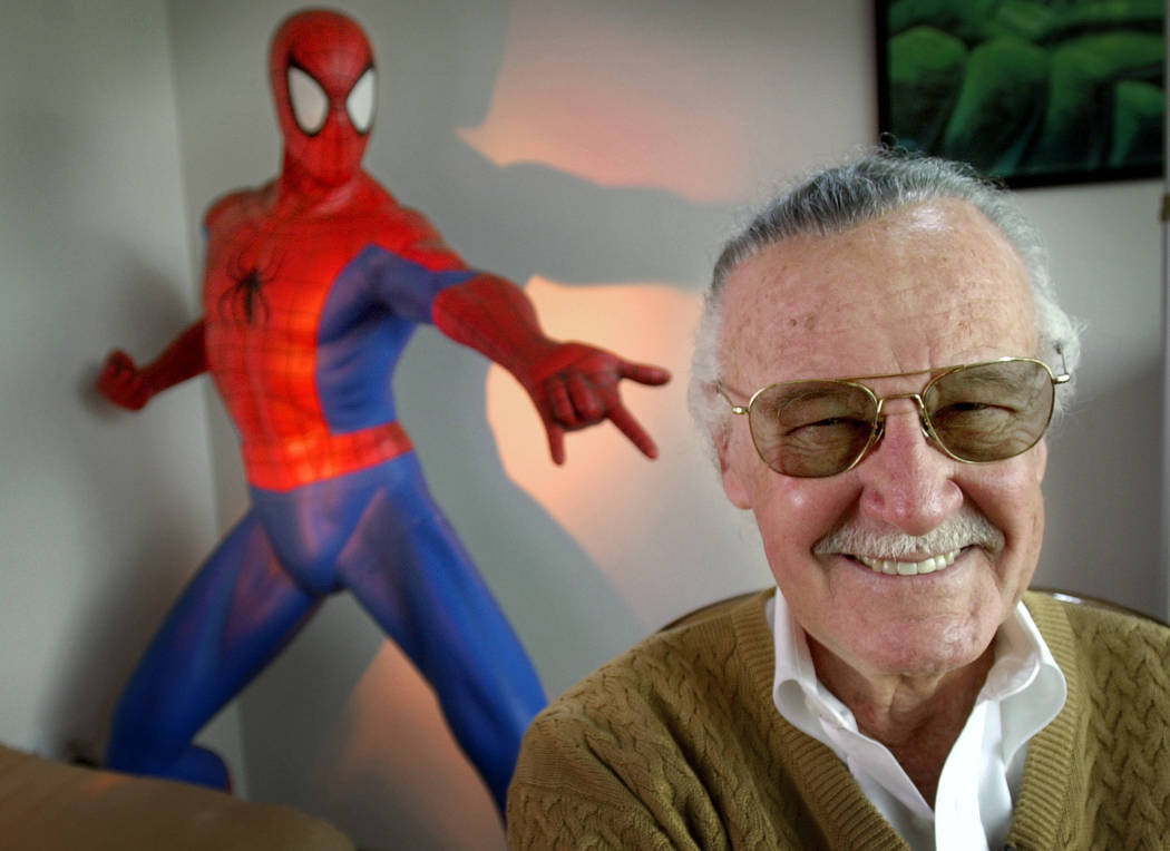 "Stan Lee, creator of comic-book franchises such as ""Spider-Man,"" ""The Incredible Hulk"" and ""X-Men,"" posing near a Spider-Man figure in his Santa Monica, Calif., office on April 16, 2002. Friends, ..."