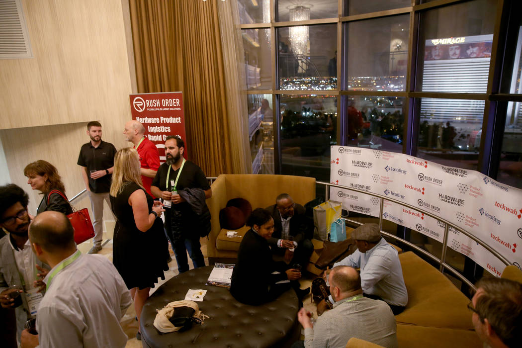 Conventioneers mingle during the Hardware Massive CES 2019 Happy Hour Bash at The Hangover Suite at Caesars Palace in Las Vegas Wednesday, Jan. 9, 2019. K.M. Cannon Las Vegas Review-Journal @KMCan ...