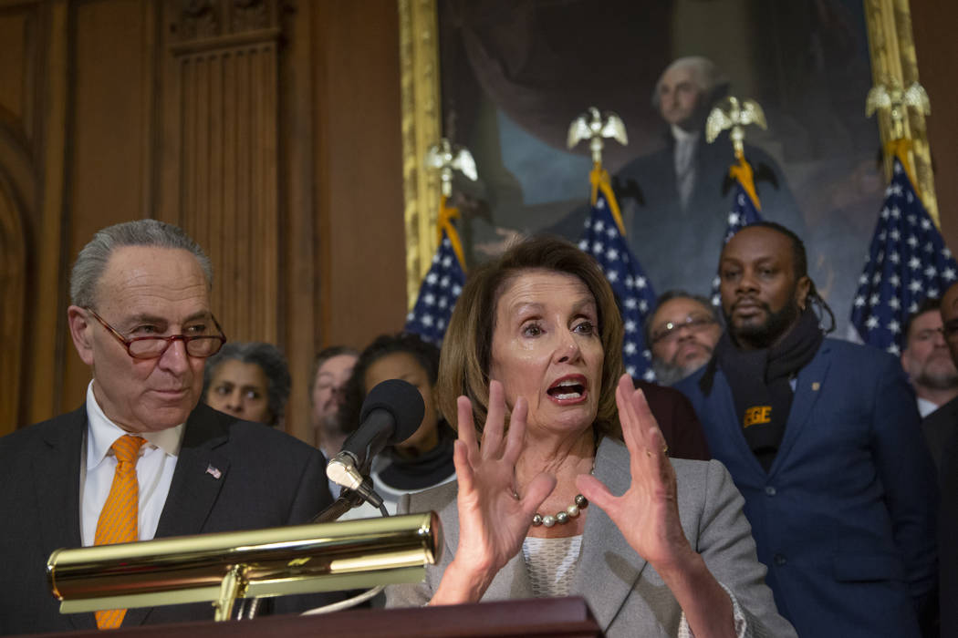 Speaker of the House Nancy Pelosi, D-Calif., and Senate Minority Leader Chuck Schumer, D-N.Y., left, are joined by furloughed federal workers at an event to discuss the impact on families from the ...