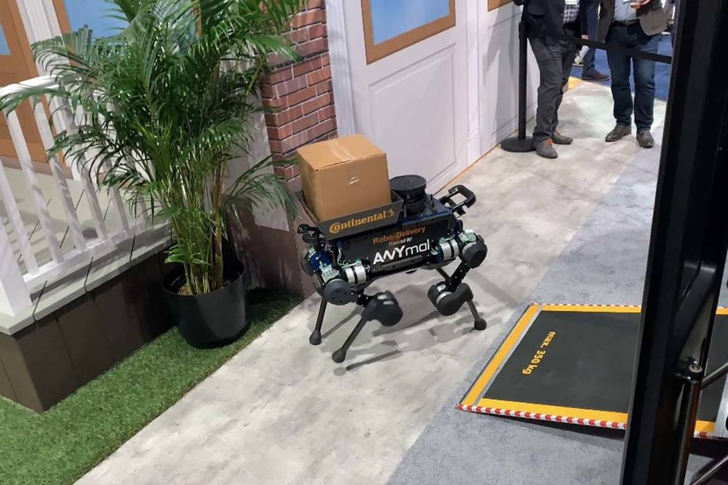Continental teamed up with ANYbotics, a startup company out of Switzerland, at CES in Las Vegas, showcasing a concept delivery system, teaming up a robotic delivery robot dog and an autonomous shu ...