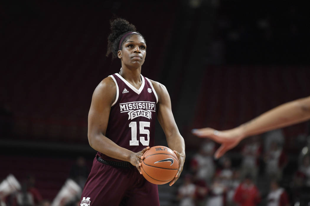 Mississippi State center Teaira McCowan shoots a free throw against Arkansas during an NCAA basketball game, Thursday, Jan. 3, 2019 in Fayetteville, Ark. (AP Photo/Michael Woods)