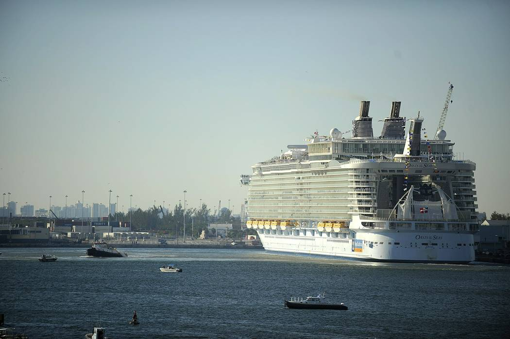 In this 2009, file photo, Royal Caribbean's Oasis of the Seas cruise ship is docked at Port Everglades in Fort Lauderdale, Fla. (Josh Ritchie/South Florida Sun-Sentinel via AP, File)