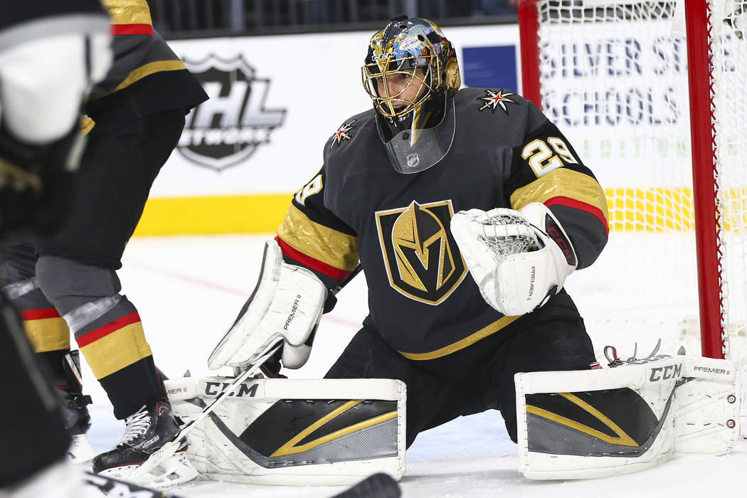 Golden Knights goaltender Marc-Andre Fleury (29) defends the net during the second period of an NHL hockey game against the Los Angeles Kings at T-Mobile Arena in Las Vegas on Tuesday, Jan. 1, 201 ...