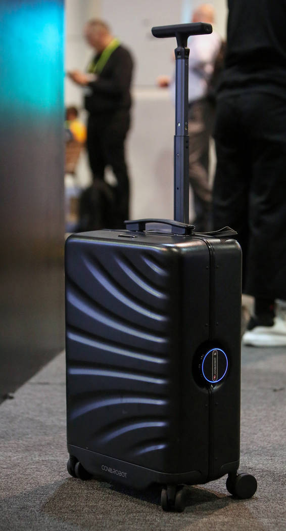 Cowa Robot showcases its Rover Speed luggage that follows its owner at the Las Vegas Convention Center during the third day of CES in Las Vegas, Thursday, Jan. 10, 2019. Caroline Brehman/Las Vegas ...