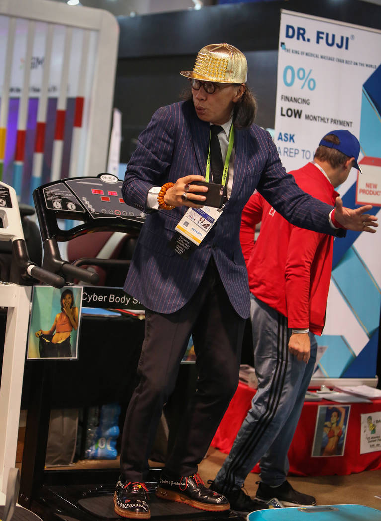 Dr. Fuji shows off his Cyber Body Slimmer at the Las Vegas Convention Center during the third day of CES in Las Vegas, Thursday, Jan. 10, 2019. Caroline Brehman/Las Vegas Review-Journal