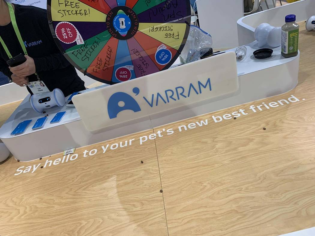 Varram's pet robot lets you remotely interact with your real pet. The robot, currently crowdfunding on Indiegogo but expected to launch on Amazon for around $99, is on display at CES 2019 o ...
