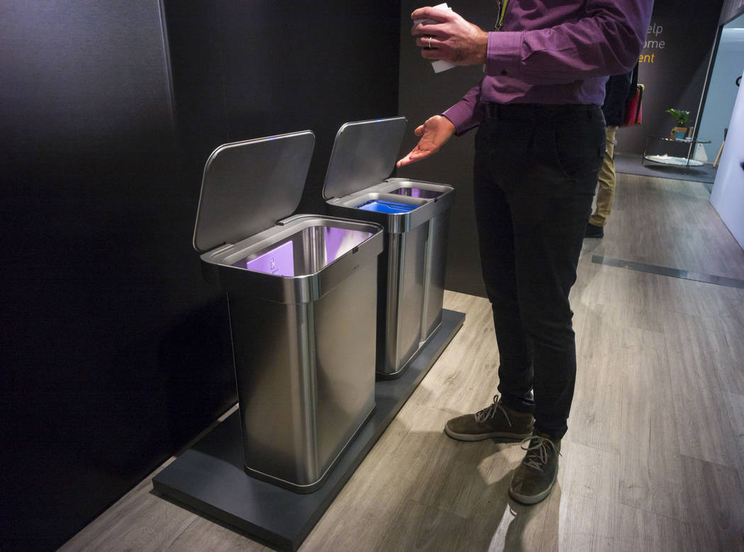The Simplehuman trash can featuring a motion sensor and voice control at the Sands Expo and Convention Center during CES in Las Vegas on Thursday, Jan. 10, 2019. Chase Stevens Las Vegas Review-Jou ...