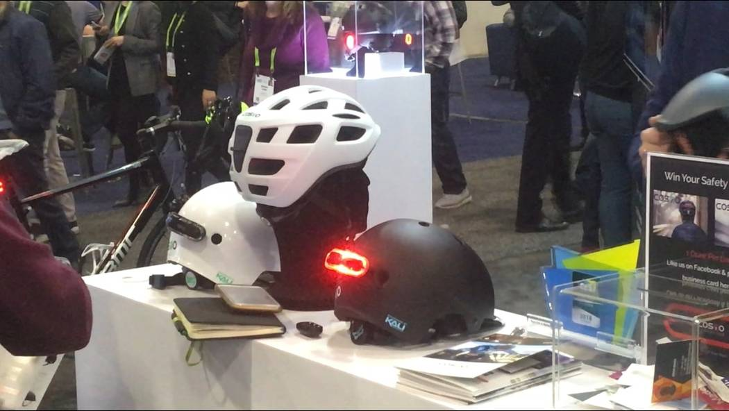 Cosmo Connected bike helmets at a CES. By Ben Gotz, Las Vegas Review-Journal.