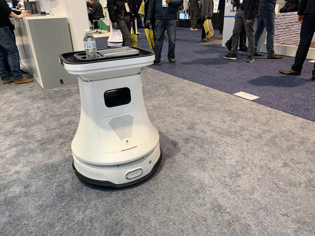 Slamtec, a Chinese robotics company at CES 2019, is showing its two autonomous robots that would be able to roam in places like bars, restaurants and shopping malls. (Mat Luschek/Las Vegas Review- ...