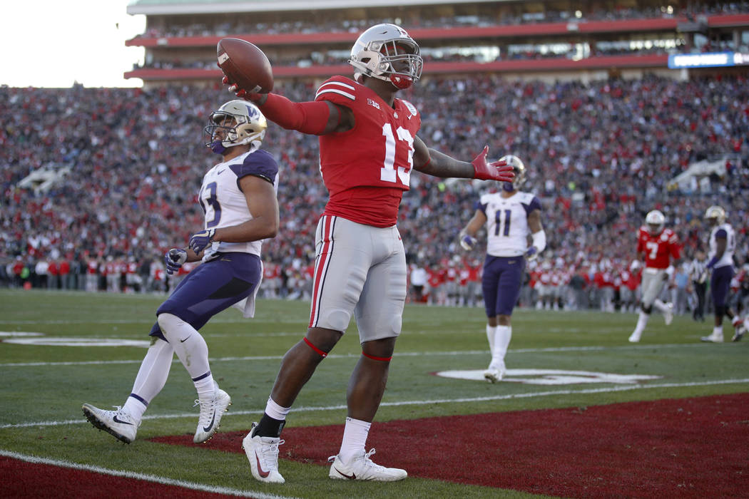 Ohio State tight end Rashod Berry celebrates after scoring against Washington during the first half of the Rose Bowl NCAA college football game Tuesday, Jan. 1, 2019, in Pasadena, Calif. (AP Photo ...