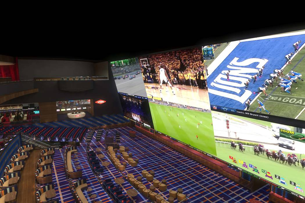 Rendering of the sports book at Circa, a casino-hotel resort being built in downtown Las Vegas by DerekandGregStevens. (Circa)