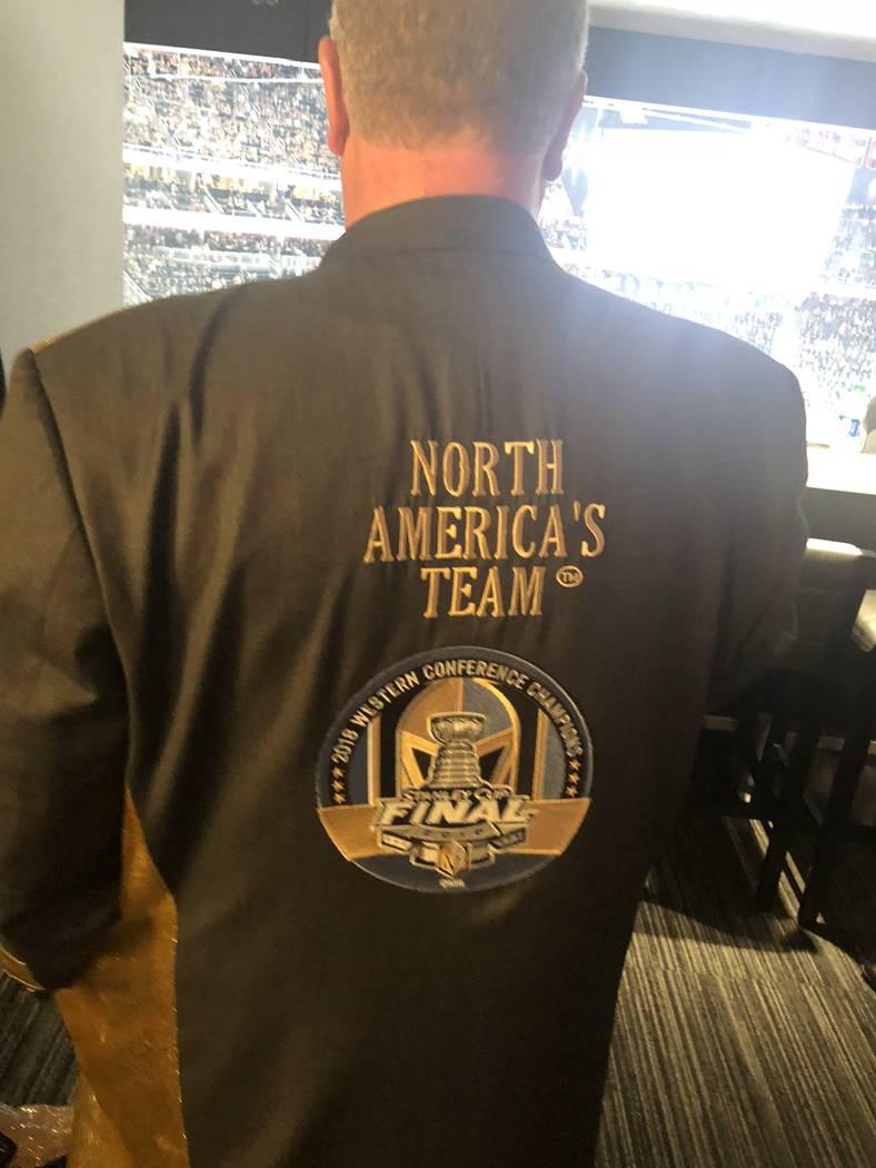 D Las Vegas co-owner Derek Stevens is shown in VGK garb at T-Mobile Arena on Thursday, Oct. 4, 2018. (John Katsilometes/Las Vegas Review-Journal) @JohnnyKats