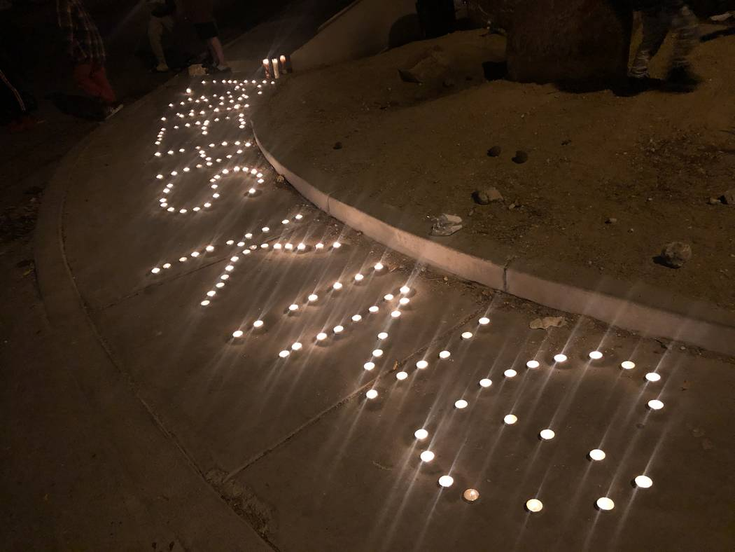 Candles were arranged to spell Aneas King's name at a vigil for the 16-year-old on Thursday, January 10, 2019. The boy was fatally shot in North Las Vegas at San Miguel Avenue and Coleman Street o ...