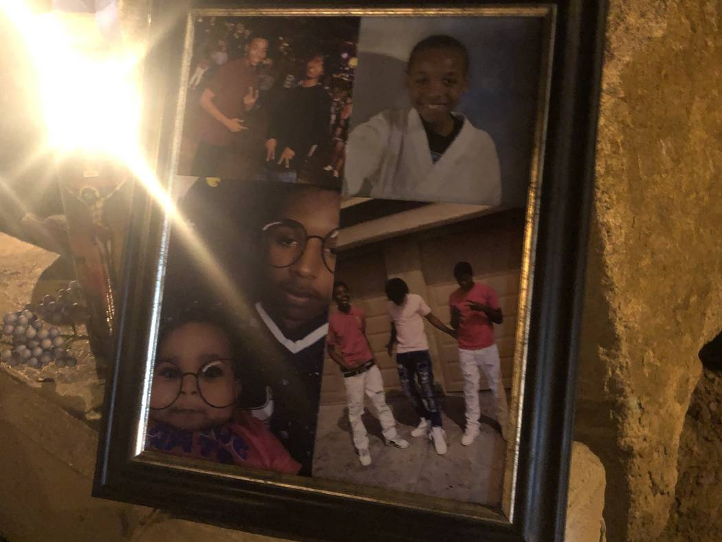 Photos showing 16-year-old Aneas King at a candle-lit vigil on January 10, 2019. The boy was fatally shot at the location of the vigil, San Miguel Avenue and Coleman Street, in North Las Vegas on ...