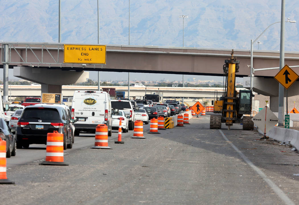 Traffic backs up in the northbound lanes of Interstate 15, near Sahara Avenue Exit in Las Vegas on Tuesday, March 13, 2018 during the Project Neon expansion, the $1 billion plan to revamp and wide ...