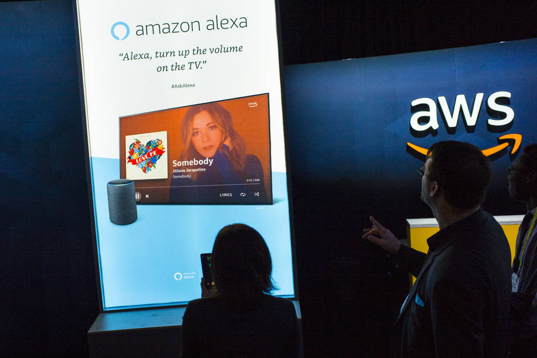 Attendees explore a room showcasing products integrated with Amazon's Alexa at the Sands Expo and Convention Center during CES in Las Vegas on Thursday, Jan. 10, 2019. Chase Stevens Las Vegas Revi ...