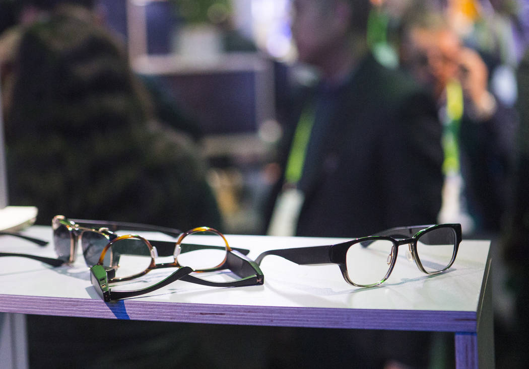 Smart glasses from Amazon-funded startup North in a room showcasing products integrated with Amazon's Alexa at the Sands Expo and Convention Center during CES in Las Vegas on Thursday, Jan. 10, 20 ...