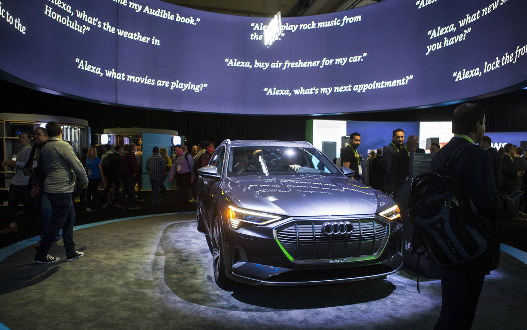 An Audi is displayed in a room showcasing products integrated with Amazon's Alexa at the Sands Expo and Convention Center during CES in Las Vegas on Thursday, Jan. 10, 2019. Chase Stevens Las Vega ...