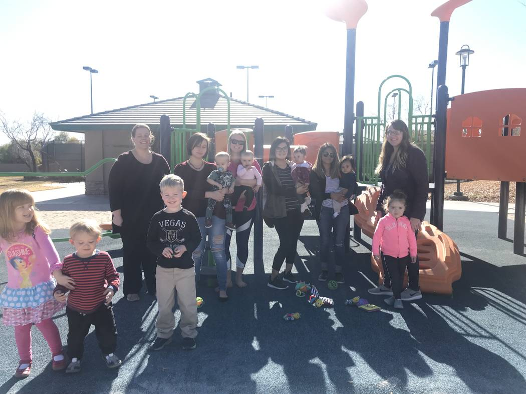 The small group of six mothers and several children gathered at Spotted Leaf Park in downtown Summerlin on Thursday, Jan. 10. (Rachel Spacek/Las Vegas Review-Journal @RachelSpacek)