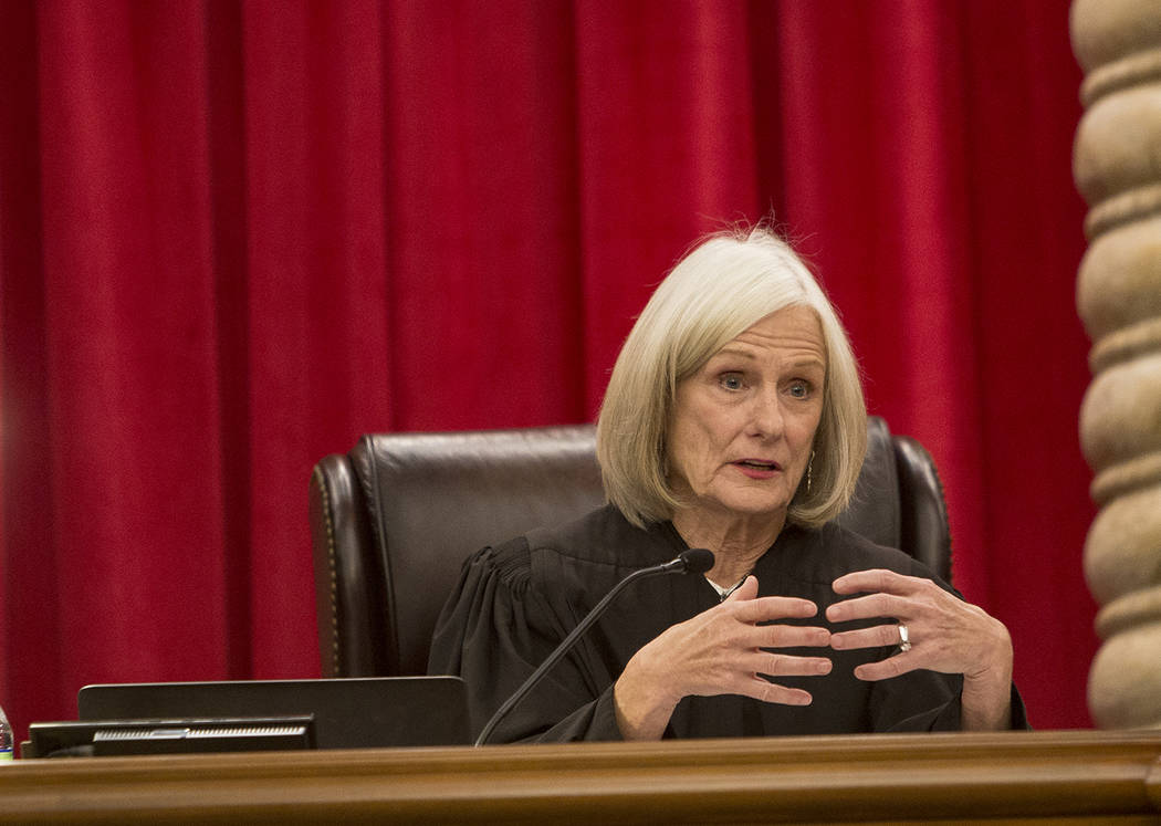 Associate Chief Nevada Supreme Court Justice Kristina Pickering asks a questions during the first day of arguments for the new 2019 court in Las Vegas, Tuesday, Jan. 8, 2019. The two new justices ...