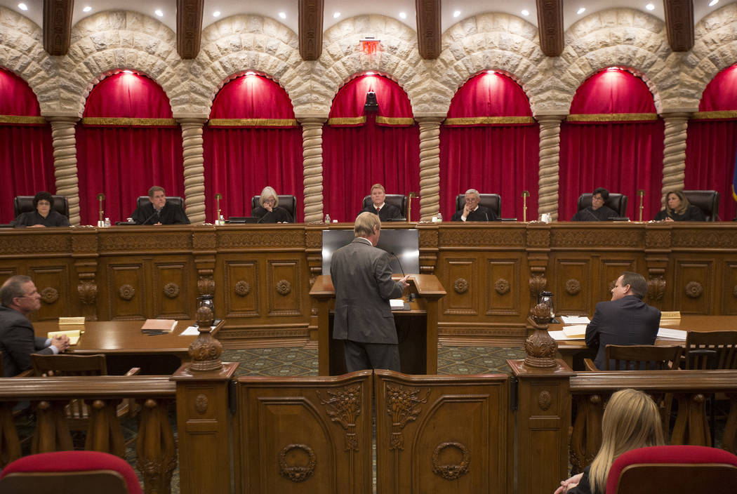 The Nevada Supreme Court Justice during the first arguments for the new 2019 court in Las Vegas, Tuesday, Jan. 8, 2019. The two new justices elected, Justice Cadish and Justice Silver, are both wo ...
