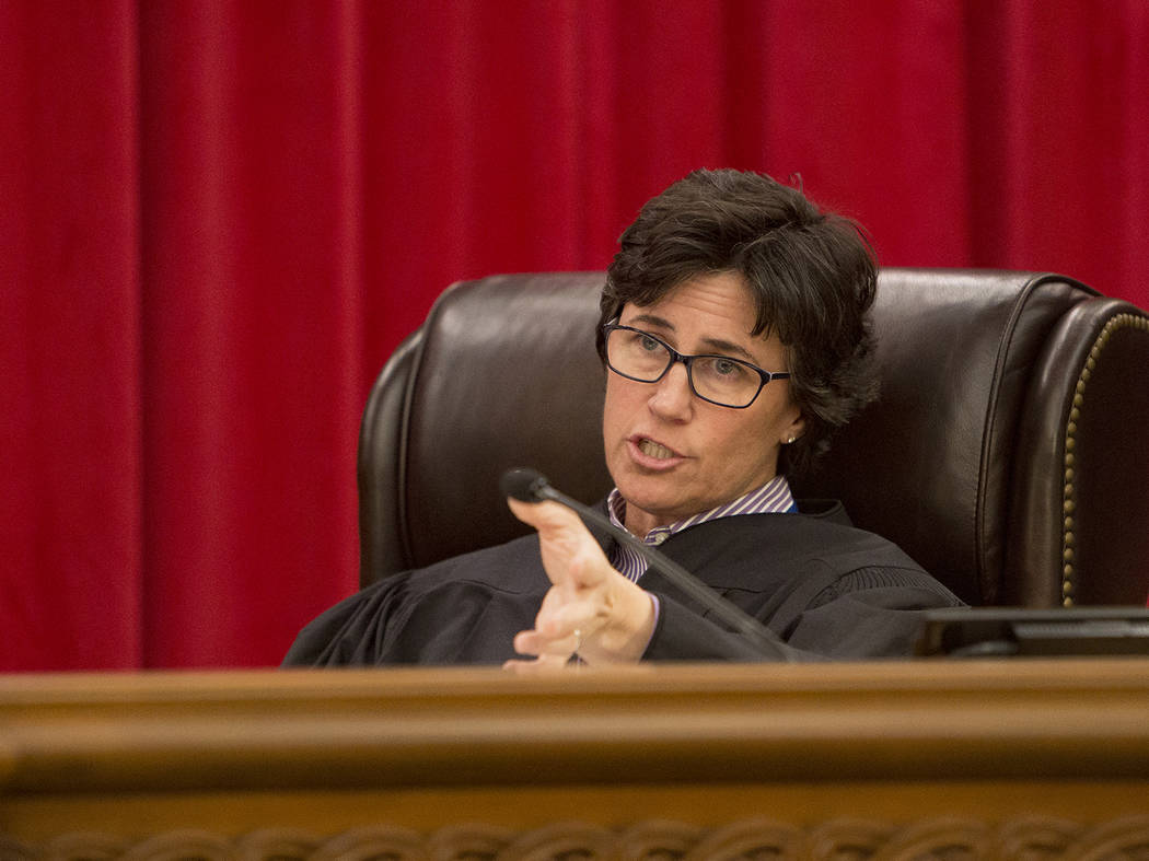 Nevada Supreme Court Justice Lidia Stiglich asks a questions during the first arguments for the new 2019 court in Las Vegas, Tuesday, Jan. 8, 2019. The two new justices elected are women, making t ...