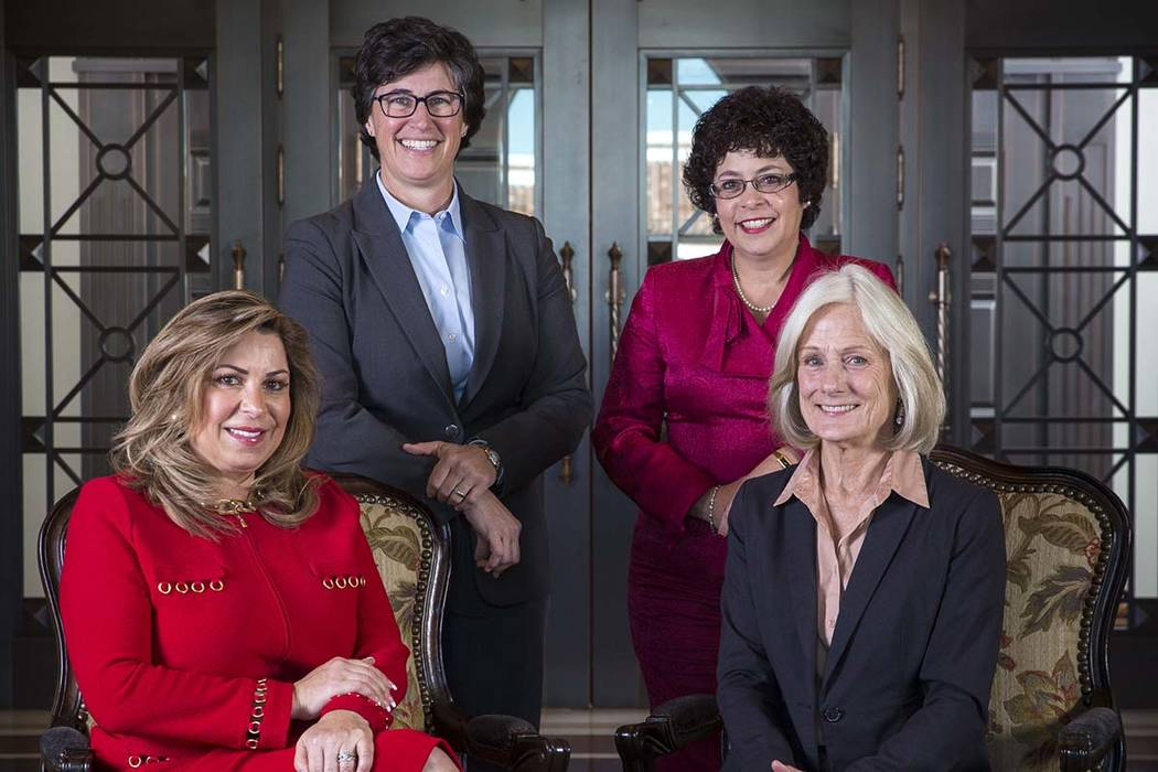 Justice Abbi Silver, from left, Justice Lidia Stiglich, Justice Elissa Cadish and Justice Kristina Pickering pose at the Supreme Court of Nevada in downtown Las Vegas on Wednesday, Jan. 9, 2019. ...