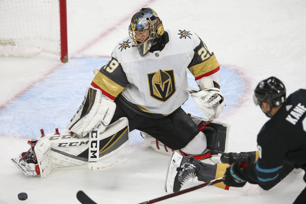 Vegas Golden Knights goaltender Marc-Andre Fleury (29) blocks a shot by San Jose Sharks left wing Evander Kane (9) during the second period of an NHL hockey game at T-Mobile Arena in Las Vegas on ...
