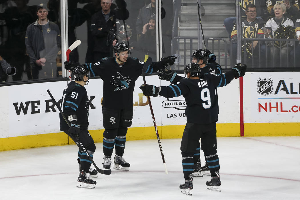 The San Jose Sharks celebrate a third period goal by Sharks right wing Joonas Donskoi (27) during an NHL hockey game against the Vegas Golden Knights at T-Mobile Arena in Las Vegas on Thursday, Ja ...