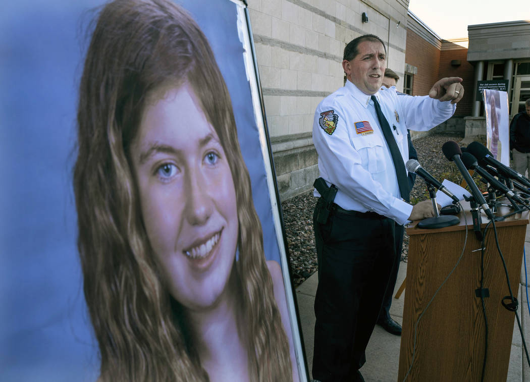 FILE - In this Oct. 17, 2018, file photo, Barron County Sheriff Chris Fitzgerald speaks during a news conference about 13-year-old Jayme Closs who has been missing since her parents were found dea ...