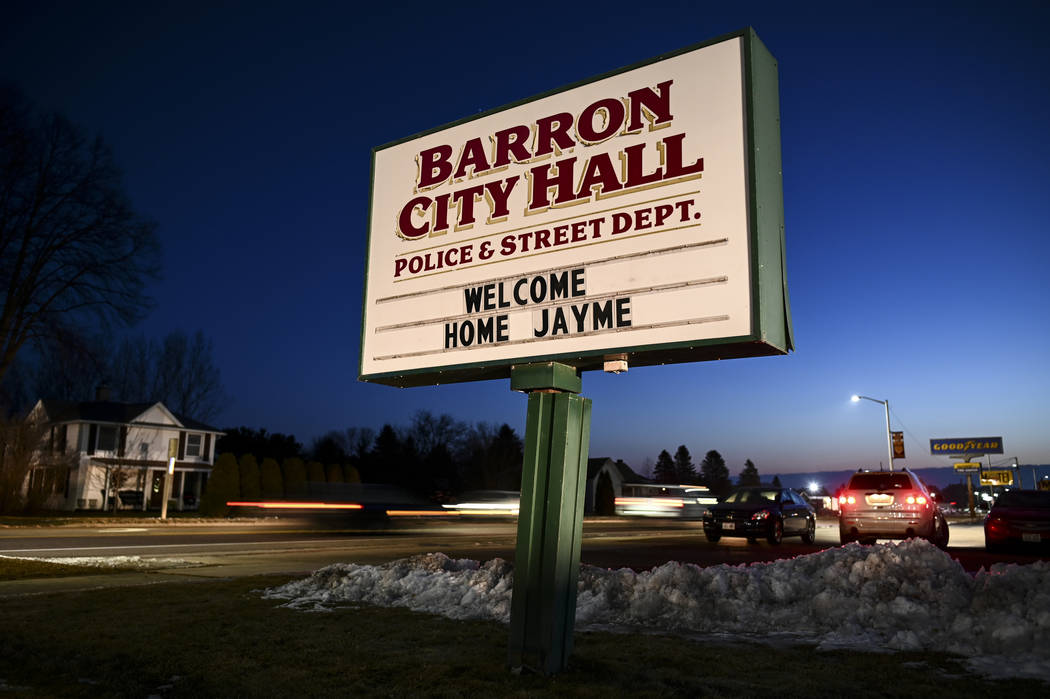 The sign outside Barron, Wis., City Hall, Friday, Jan. 11, 2019, welcomes Jayme Closs, a 13-year-old northwestern Wisconsin girl who went missing in October after her parents were killed. Closs wa ...